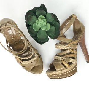 Prada Braided Multistrap Platform Sandals